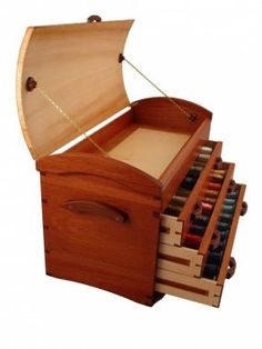 Sewing Treasure Chest Open with Joinery - make something similar at correct height for standing sewing as base for machine