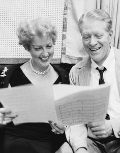 Jeanette MacDonald and Nelson Eddy photographed in the recording studio in 1957 when they re-united to record an album