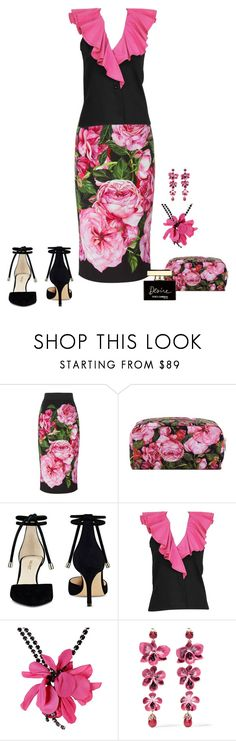 """""""Dolce&Gabbana Rose Print Skirt"""" by alara-cary on Polyvore featuring Dolce&Gabbana, Nine West, Yves Saint Laurent, Lanvin and Etro"""
