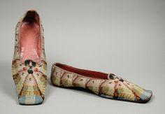 1840-1846, America - Pair of Man's Slippers by John J. Dunham - Wool embroidery on linen, leather