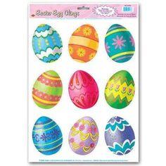 Easter Egg Window Clings (Pack of 96) http://www.easterdepot.com/easter-egg-window-clings-pack-of-96/ #easter  easter egg window clings. sheet of 9 fun easter egg window clings.. As shown. Pack of 96. As shown.