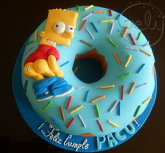 Bart Simpson unique one of a kind different gift timeless treasure nice look perfect only one great lovely image love it stylish Bolo Simpsons, Simpsons Party, Pretty Cakes, Cute Cakes, Fondant Cakes, Cupcake Cakes, 14th Birthday, Birthday Cake, Fantasy Cake