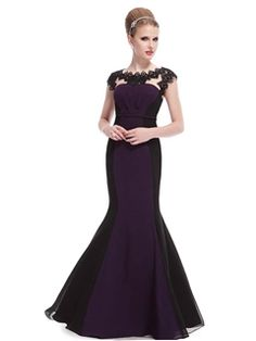 Fashionable Mermaid Full Length Sheer Lace Neckline Evening Dress