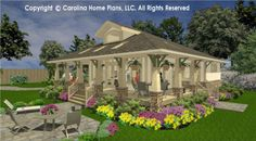 Small house plan with large wrap-around porch. SG-979-AMS from Carolina Home Plans.