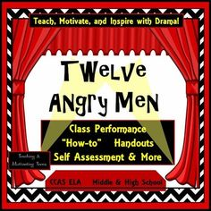 Motivate your students - even the reluctant readers by performing, not just reading the play 12 Angry Men. Every student has a theatre job and together they'll produce an in-class performance of the play - or a scene from the play. Since all students will be participating in one way or another, a great idea is to tape it for sharing or publication. Teaching Language Arts, English Language Arts, Teaching Music, Teaching English, Teacher Helper, Teacher Pay Teachers, Teacher Stuff, Reluctant Readers, Middle School Writing