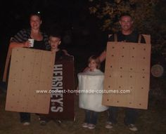 Homemade S'mores Family Halloween Costume: Our family campground has trick or treat camping, so we created a homemade S'mores family Halloween costume.   The marshmallow was made out of a collapsible