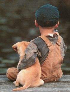 Boy and puppy by Gmomma