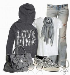 Amazing Sports Gray Hoodie with Torn Jeans, White T-Shirt, Scarf, Gray Sports Handbag, Sports Shoes and Accessories, Love It