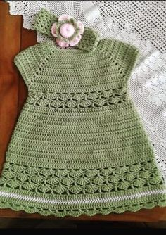 Crochet Baby Dress Pattern, Baby Dress Patterns, Baby Girl Crochet, Crochet Toddler, Crochet Baby Clothes, Crochet For Kids, Baby Knitting Patterns, Crochet Patterns, Gilet Crochet