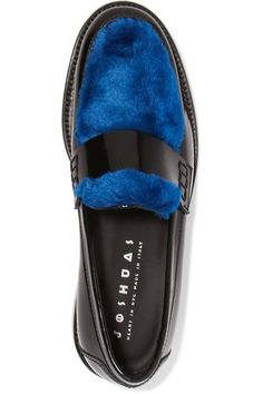 Joshua Sanders - Last Dance Faux Fur-trimmed Glossed-leather Loafers - Blue