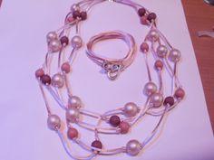 lange ketting met satijnkoord met bijbehorende armband