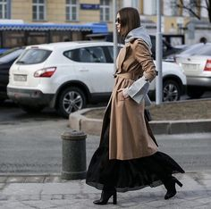 Fashionable outfit + trench coat + long skirt + hoodie