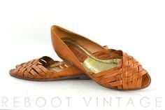 Vintage 80s Brazilian Woven Leather Open Toed by RebootVintage, $32.00