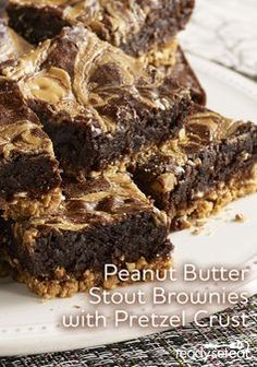 Brownies with stout beer? Yes - and it's delicious with a salty pretzel crust! Football favorites never tasted so good!