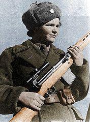 Czechoslovokian female sniper Marie Lastovecka