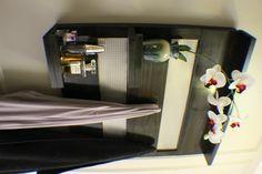 Beautiful Ebony Stained Wall Mounted Bathroom Shelf with Decorative Chrome Metal Mesh, Coat Rack, Wall Mounted Shelf by TheKnottyShelf on Etsy