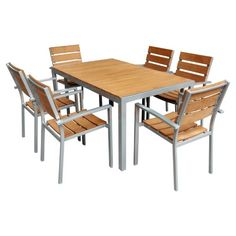 Add a classic touch to your patio with this striking dinging set. The set includes one table and six chairs. Each piece features a durable, rust-resistant steel frame. Weather resistant, natural looking polywood completes the set. Dinning Set, Solid Wood Dining Set, Kitchen Dining Sets, 7 Piece Dining Set, Outdoor Dining Set, Patio Dining, Dining Room Sets, Outdoor Living, Wood Patio Furniture
