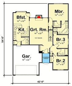 3-Bed House Plan with Double-L Kitchen - 41017DB | Architectural Designs - House Plans