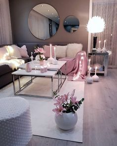 Living room setup grey pink and white colour scheme - - Wohnkultur Ideen - Wohnzimmer Living Room Setup, Living Room Decor Cozy, Living Room Grey, Home Living Room, Apartment Living, Living Room Designs, Apartment Ideas, Cozy Bedroom, Cozy Apartment