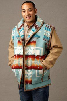 Kraff's Reversible Car Coat, Chief Joseph Aqua – Kraffs Clothing Wool Car Coat, Pendleton Fabric, Chief Joseph, Blanket Coat, Western Wear For Women, Native Style, Aqua, Sweaters And Jeans, Wool Fabric