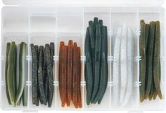 "This kit comes in an adjustable 24-compartment utility box. Kit includes: Nineteen 4"" Senkos: six Watermelon/White Laminate, six Smoke with Black/Blue/Gold Flake, seven Pumpkin with Black/Green Flake. Twenty-one 5"" Senkos: seven Watermelon/Black Flake, seven Blue Pearl/Silver Flake, seven Green Pumpkin/Black Flake."