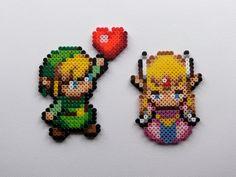 Link and Zelda Love v.2 -  Legend of Zelda Pixelated Perler Bead Sprite Magnets. $10.00, via Etsy.