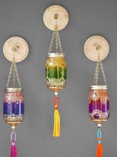 Boho Decor Wall Hanging Lantern Mason Jar Decor Housewarming | Etsy Moroccan Lamp, Moroccan Lanterns, Turkish Lamps, Pot Mason, Mason Jar Crafts, Jar Lanterns, Hanging Lanterns, Glass Bottle Crafts, Bottle Art