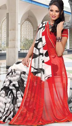 Pavitraa Red, White and Black Casual Printed Sarees Rs Off White Shop, Usa People, Sarees Online India, Casual Saree, Ethnic Dress, Latest Sarees, Printed Sarees, India Fashion, Saree Collection