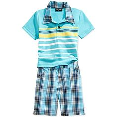 Only Kids Apparel Baby Boys' Polo & Plaid Shorts Set Plaid Shorts, Baby Boys, Blue Stripes, Boy Outfits, Boy Clothing, Clothes, Short Set, Polo Shirt, Shirts
