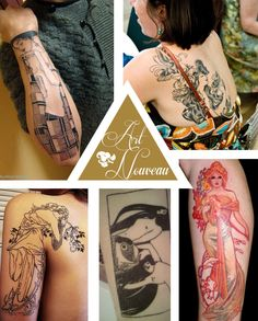 Art nouveau tattoos art nouveau dans le tatouage at for Think tank tattoo