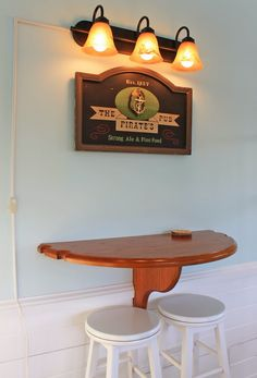 short on space half table top mounted with a place for your pool sticks