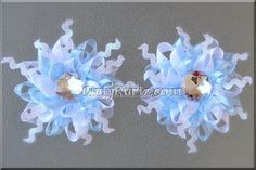 Wild, Funky Snowflake (Blue & White) Snowflake Hair Bow WInter Hair Bow Hair Clip