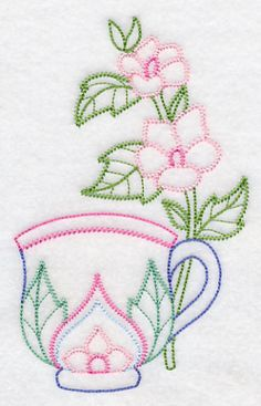 Teacup with Marsh Mallow (Vintage) design (K2386) from www.Emblibrary.com
