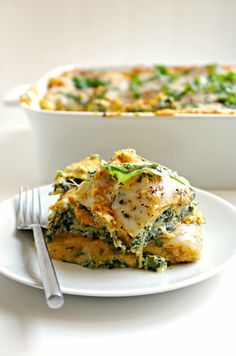 Butternut Squash, Zucchini and Spinach Lasagna. My favorite lasagna ever.  coffeeandcrayons.net