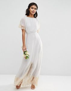 Simple lace trim wedding dress for $113!!