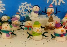 Model Magic snowmen sculptures