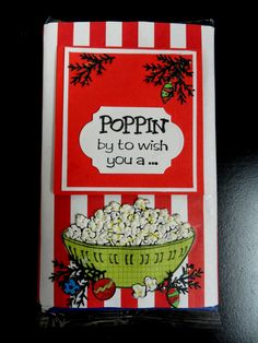 Crackerbox Palace rubber stamp Blog: Popcorn bag wrap for a gift.