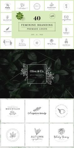 This feminine branding premade logo bundle can be used on your website, blog, fashion, magazine, salon, beauty parlor, photography or different types of agency. Every logo is fully editable and very easy to customize. #AffiliateLink Logo Design Template, Salons, Feminine, Branding, Templates, Logos, Photography, Beauty, Women's