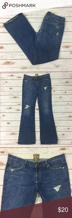 """[Rich & Skinny] Boot Cut Sea Blue Jeans Size 29 Cute Rich & Skinny Women's distressed jeans, size 29. They're the """"sea blue"""" wash color. They're preowned and in good condition, there is some wear on the cuffs, see photos for details.   Waistband- 16.5"""" straight across  Inseam- 33.5""""  Front rise- 8.5""""   :::G98PB3 Rich & Skinny Jeans Boot Cut"""