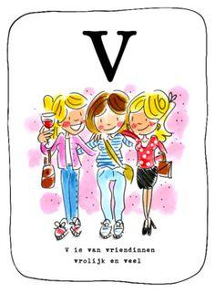 Alfabetkaart, V is van vriendinnen- Greetz