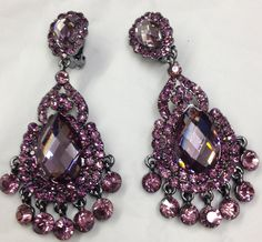 Large Black Chandelier Clip-on Earrings | Costume Fashion Earrings ...