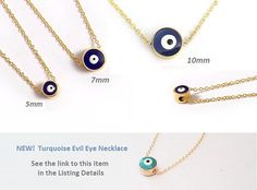 Our favourite Evil Eye Necklace! Blue Bead Necklace is the most popular talisman to stop the evil eye. The bright Evil Eye bead gives happiness, health and luck to the friends and the beloved ones. This Evil Eye Necklace (or Nazar Necklace) is perfect for everyday wear and is a great idea for layering.  This listing for ONE Evil Eye on ONE chain! Just choose. Or order two at once)  - navy blue evil eye 5, 7 or 10mm (select in the 1st drop down menu) - specify your chain lenght in the 2nd…
