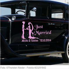 Autoaufkleber Hochzeit - Just Married mit Brautpaar