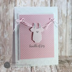 Handmade baby girl card - Onesie - Bundle of Joy Baby Girl Cards, New Baby Cards, Diy And Crafts, Paper Crafts, Karten Diy, Kids Cards, Homemade Cards, Cardmaking, Baby Gifts