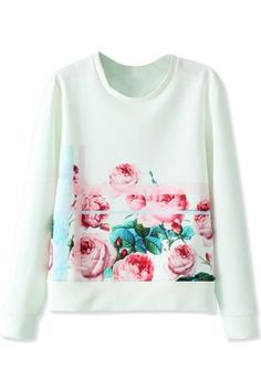Red Rose Pattern Sweatshirt