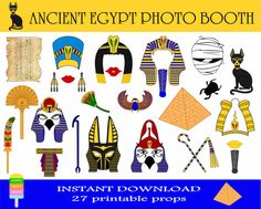 Ancient Egypt Civilization Photo Booth Props -27 Pieces-Ancient Egypt Props-Egyptian Pharaohs And Gods Photo Booth Props-Instant Download