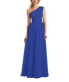 Description - Alfred Angelo Style 7322L - Full length bridesmaid dress - One shoulder neckline with sheer organza inset - Natural waist, shirred a-line skirt - Chiffon Long The Alfred Angelo 7322l bri