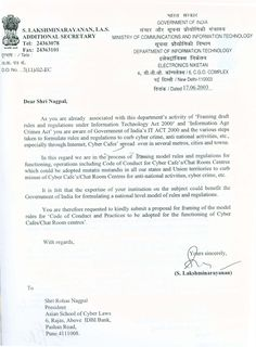 Letter from Additional Secretary, Ministry of Communications and Information Technology, Government of India for framing model rules under the Information Technology Act.