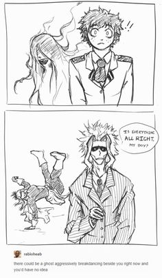 """kemdoodles: """"Yesterday Upon The Stair by is a really good fic and also this post went by my dash at exactly the right time. I dunno, I feel like Nana would be the sort of ghost to take it as a challenge. """" SHE WOULD Bnha Boku No Hero Academia, My Hero Academia Memes, Hero Academia Characters, My Hero Academia Manga, Another Anime, Funny Comics, Me Me Me Anime, Webtoon, Hetalia"""