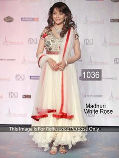 Bollywood Replica - Madhuri White Rose Color Salwar Suit - 1036(DF-514)